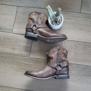 Frye Brown Leather Short Booties 7.5 B Strappy